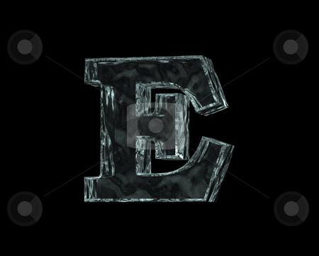 Frozen letter E stock photo, Frozen uppercase letter E on black background - 3d illustration by J?