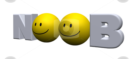 Noob stock photo, The word noob with two smileys - 3d illustration by J?