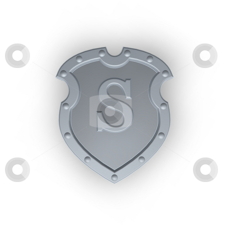 Shield with letter S stock photo, Metal shield with letter S on white background - 3d illustration by J?