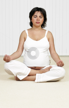 Meditation, Holistic or Hypno Birthing stock photo, A pregnant woman in a state of calm by Leah-Anne Thompson