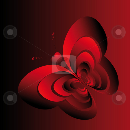 Butterfly-hearts stock photo, Abstract image butterfly made in red hearts by Alina Starchenko