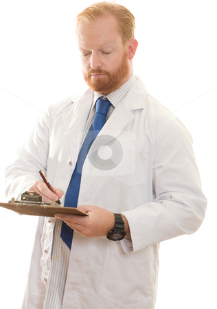 Doctor, Pharmacist, Laboratory worker stock photo, Doctor, pharmacist or laboratory worker recording information. by Leah-Anne Thompson