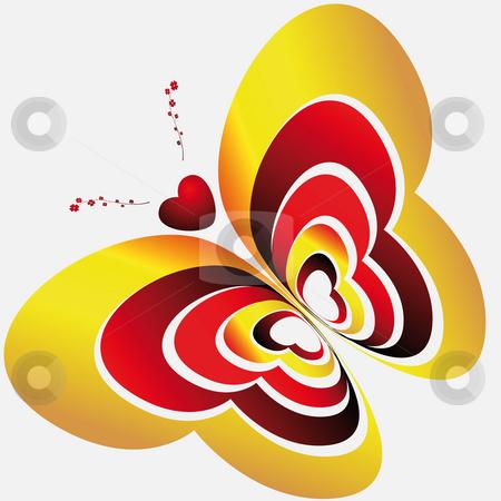 Butterfly-hearts on light background stock photo, Abstract image butterfly made in  hearts on light background by Alina Starchenko