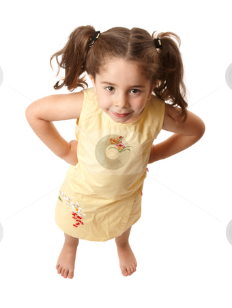 Little girl with attitide hands on hips stock photo, Young preschool girl standing with her hands on her hips by Leah-Anne Thompson