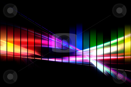 Graphic Audio Waveform stock photo, An abstract audio waveform illustrations in a rainbow color scheme isolated over black. by Todd Arena
