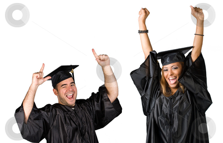 Graduates Celebrating stock photo, Two recent graduates posing in their caps and gowns isolated over white. by Todd Arena