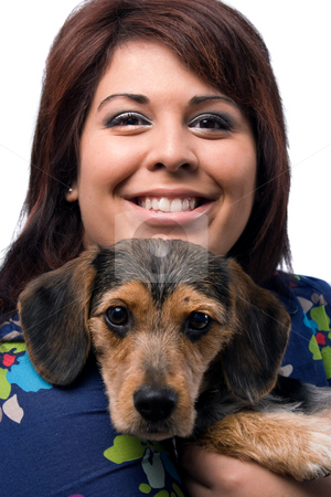 Woman and Puppy stock photo, A young woman holding a cute mixed breed puppy isolated on a white background. The dog is half beagle and half yorkshire terrier. by Todd Arena