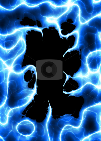 Electric Plasma Border stock photo, A frame or border with blue glowing plasma. by Todd Arena
