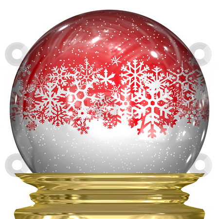 Crystal Snow Globe stock photo, 3d snow globe with snow flakes floating around inside. by Todd Arena