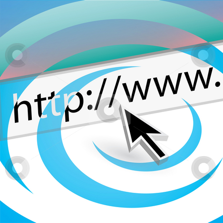 Searching the Web stock photo, A mouse arrow pointing the the URL in the web browser address bar. by Todd Arena