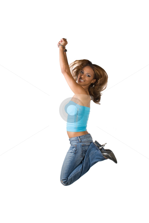Jumping Girl stock photo, A young Latina woman jumping in the air with her knees bent isolated over a white background. by Todd Arena
