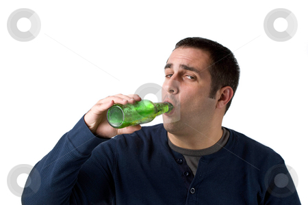 Beer Drinker stock photo, A young man drinking a bottle of beer isolated over a white background. by Todd Arena