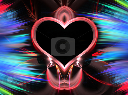 Fractal Heart stock photo, Abstract fractal heart layout with plenty of copyspace by Todd Arena