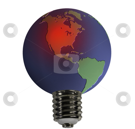 Globe with an overheated USA stock photo, An overheated earth acting as the glass globe of an electric bulb by Steven Heap