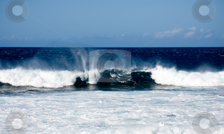 Surf on a windy day stock photo, Rolling surf on windy day off coast of Hawaii by Steven Heap