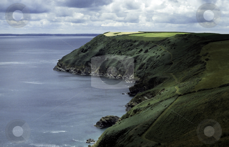 Cornwall Coastal Path stock photo, Coastal Path around the headlands on the Cornish Coastline in England by Steven Heap