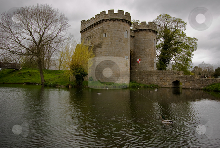 Whittington Castle Reflection stock photo, Reflection of Whittington Castle in the moat with ducks swimming by by Steven Heap