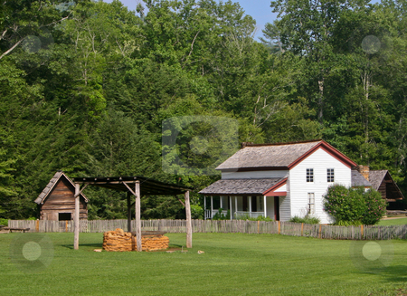 White Farm building stock photo, Prosperous farm building and land in Smoky Mountains by Steven Heap