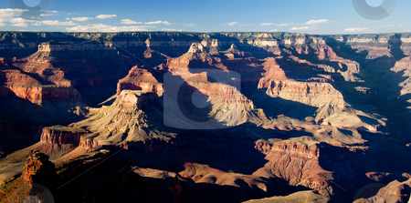 Panorama of Grand Canyon stock photo, Overview of a Grand Canyon valley in panorama format by Steven Heap