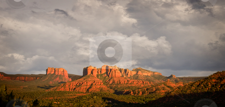 Stormy view of Sedona hills stock photo, Stormy skies over the red rocks of Sedona in late afternoon by Steven Heap