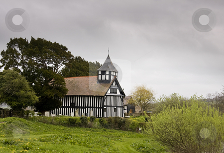Melverley Church on stormy day stock photo, Melverley Church in Shropshire on stormy day by Steven Heap