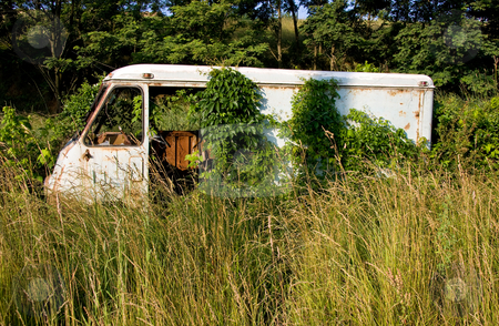 Rusty van in deep grass stock photo, Remains of an old van left to rust in deep grass in front of a wooded area by Steven Heap