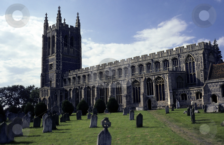 Old English Church stock photo, Cathedral like ancient english church and graveyard on sunny day by Steven Heap