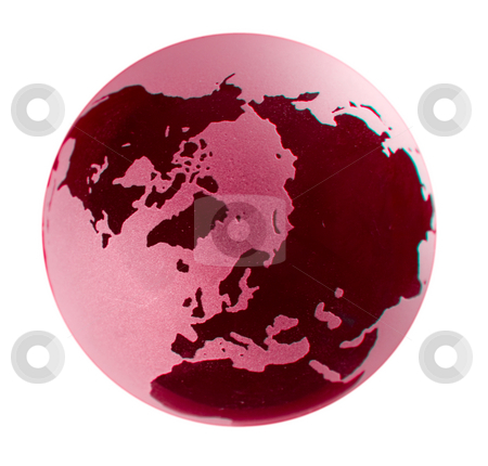 Polar view of a glass earth globe with red coloring stock photo, Polar view of a glass earth globe with red coloring by Steven Heap