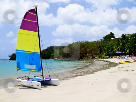 Catamaran on beach stock photo, Catamaran on tropical beach on a clear bay by Steven Heap