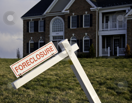 Foreclosure Sign by house stock photo, Modern house with crooked foreclosure sign in suburbs by Steven Heap