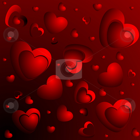 A lot of red hearts stock photo, A lot of red hearts on a red background by Alina Starchenko
