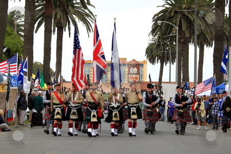 Seaside Highland Games stock photo, VENTURA, CA, USA - October 11, 2009 - Bagpipe bands participating in a parade at the Ventura Seaside Highland Games October 11, 2009 in Ventura, CA by Henrik Lehnerer
