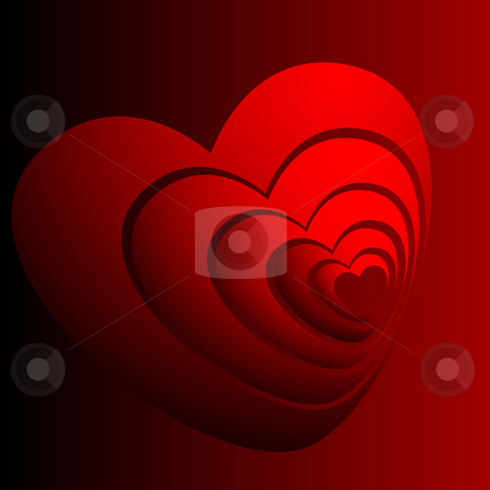 Abstract image hearts stock photo, Abstract image group hearts on a red background by Alina Starchenko