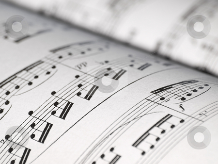 Sheet of music notes stock photo, Closeup of music notes on the sheet, shallow DOF by Vladimir Koletic