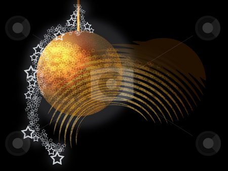 Abstract Theme stock photo, Abstract Elegant Christmas Theme with Bright Golden Ball, Lacy Starrs over Black Background by Skovoroda
