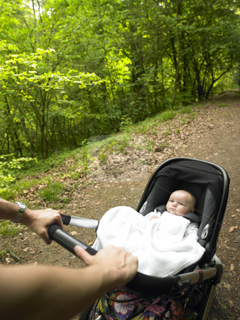 Parent and Baby Taking a Walk in the Woods stock photo, A parent pushes a baby carriage along a wooded path. Vertical. by Mog Ddl