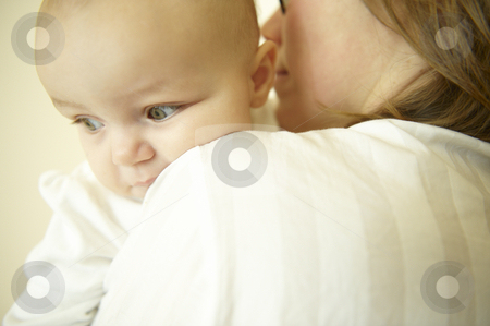Mother and Baby stock photo, Mom holding baby. Horizontally framed shot. by Mog Ddl