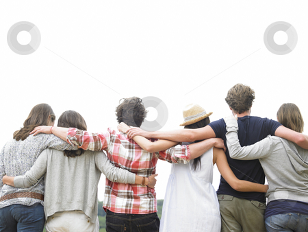 Rear View of Group of Friends Hugging stock photo, Rear view of group of friends hugging. Horizontal. by Mog Ddl