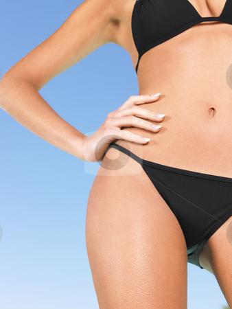 Woman in bikini stock photo, Body parts of woman in black bikini by Mog Ddl