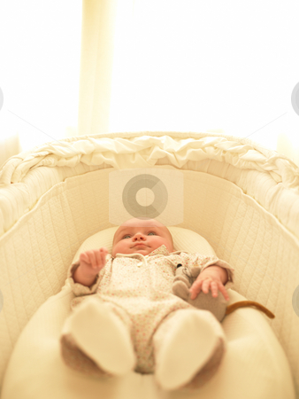 Baby in Bassinet stock photo, Baby in bassinet with stuffed toy. Vertically framed shot. by Mog Ddl