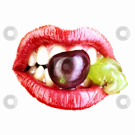 Red Lips With Fruit stock photo, Isolated mouth with red lips and fruit in teeth. Square. by Mog Ddl