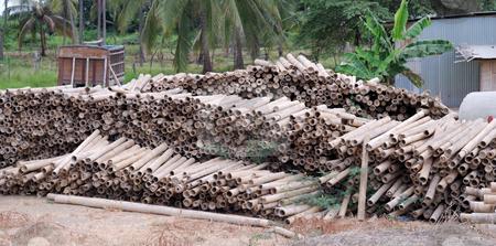 Bamboo stock photo, Storage of a building bamboo by Nataliya Taratunina