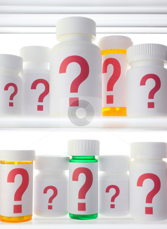 Medicine Cabinet of Worry stock photo, Close crop of medicine cabinet shelves filled with pill bottles, each labeled with a red question mark.  Lighting is neutral with strong backlighting. by Mark Carrel