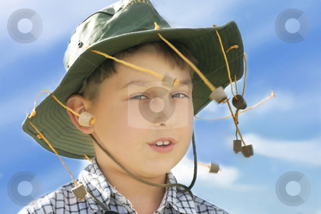 Boy in cork hat stock photo, Young country boy by Leah-Anne Thompson