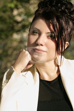 Sunlit  Beautiful Businesswoman stock photo, Assured confident beautiful businesswoman. by Leah-Anne Thompson