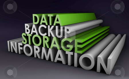 Data Backup stock photo, Data Backup Information in 3d Art Sign by Kheng Ho Toh