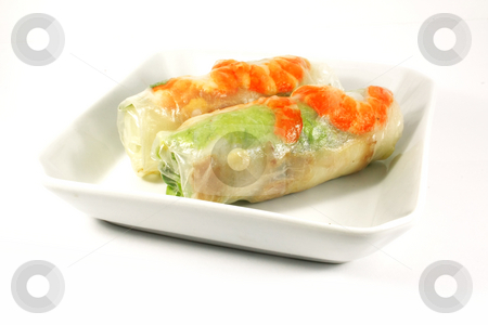 Fresh Handmade Spring Rolls stock photo, Fresh Handmade Vegetable Spring Rolls On White Surface by Kheng Ho Toh