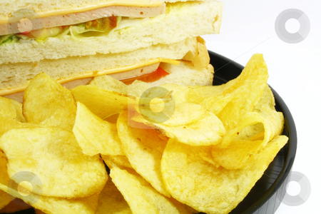 Sandwich and Chips Meal Combo stock photo, Sandwich and Chips Meal Combo on a White Background by Kheng Ho Toh