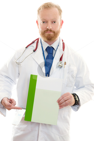 Male Doctor with Information stock photo, Male Doctor pointing to a brochure, leaflet or information.  Replace with your own brochure or add text. by Leah-Anne Thompson