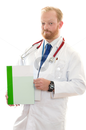 Medical Facts stock photo, Serious doctor holding some advice, information or facts. by Leah-Anne Thompson